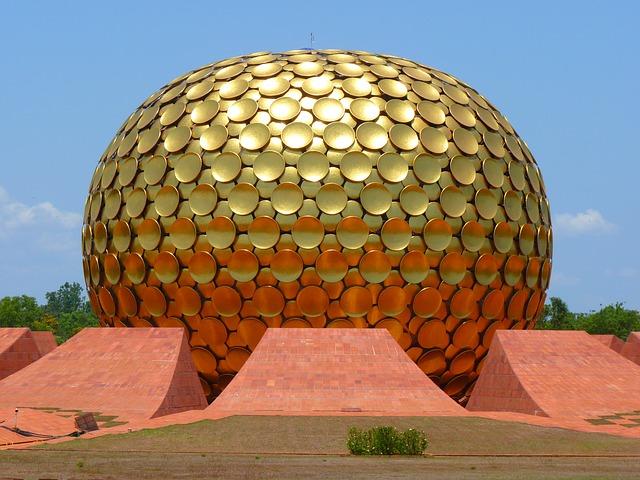 Matri Mandir Ashram Gold Auroville Golden Dome